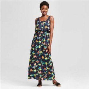 Merona Navy Blue Flouncy Floral Print Maxi Dress